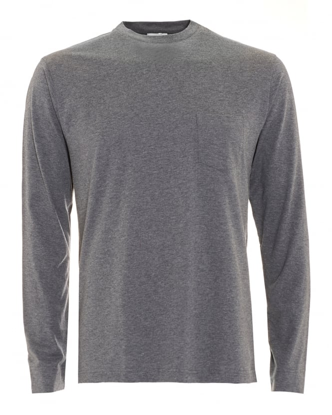 Sunspel Mens Long Sleeve Charcoal Grey T-Shirt
