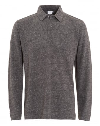 Mens Long Sleeve Grey Marl Polo Shirt