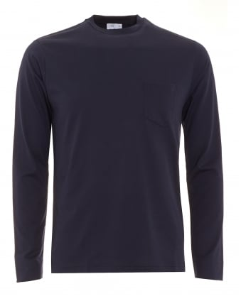 Mens Long Sleeve Navy Blue Pocket T-Shirt