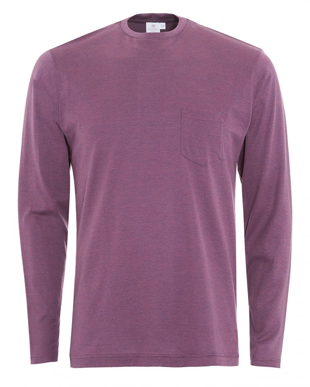 Sunspel mens long sleeve purple micro stripe pocket t shirt for Long sleeve pocket shirts