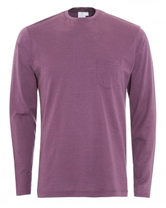 Mens Long Sleeve Purple Micro Stripe Pocket T-Shirt