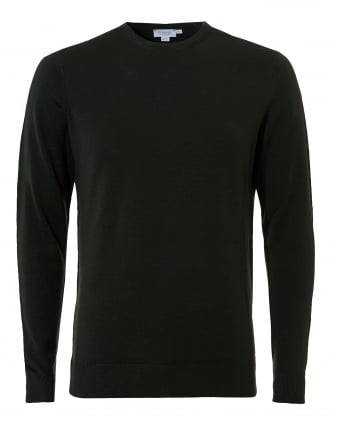 Mens Merino Jumper, Bottle Green Crew Neck Sweater