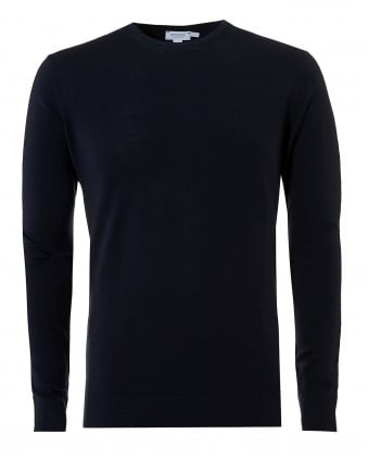 Mens Merino Jumper, Navy Blue Crew Neck Sweater