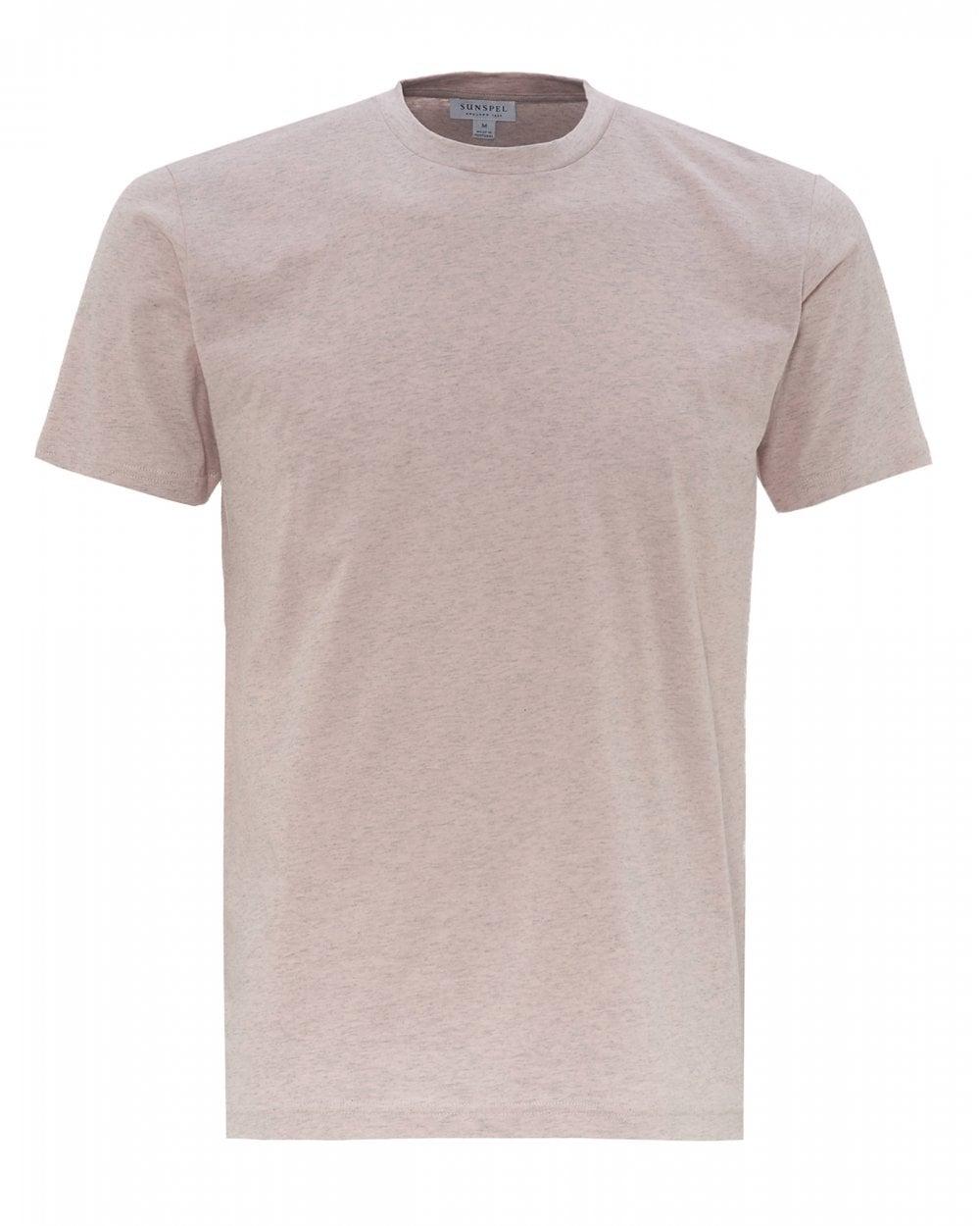 d9405000 Sunspel Mens Organic Cotton Riviera T-Shirt, Pink Melange Marl Tee