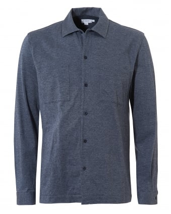 Mens Overshirt, Cotton Jersey Ash Blue Melange Jacket