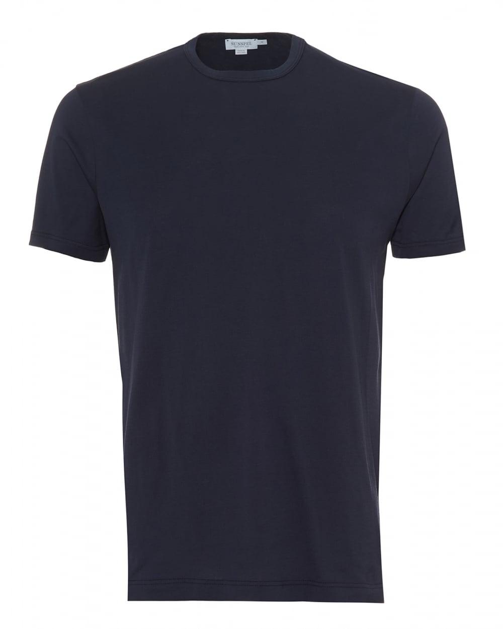 Sunspel Mens Plain T-Shirt, 100% Cotton Navy Blue Tee