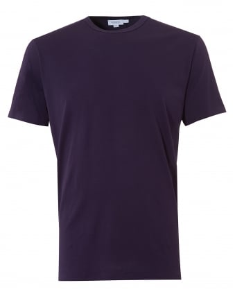 Mens Plain T-Shirt, Crew Neck Cotton Aubergine Tee