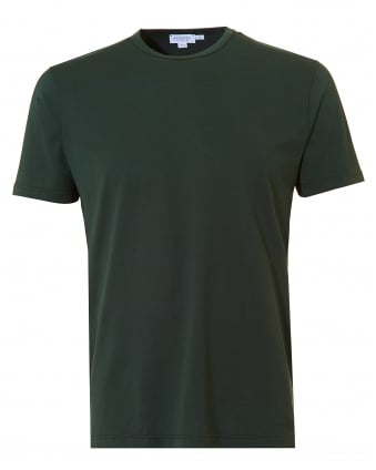 Mens Plain T-Shirt, Crew Neck Cotton Bottle Green Tee
