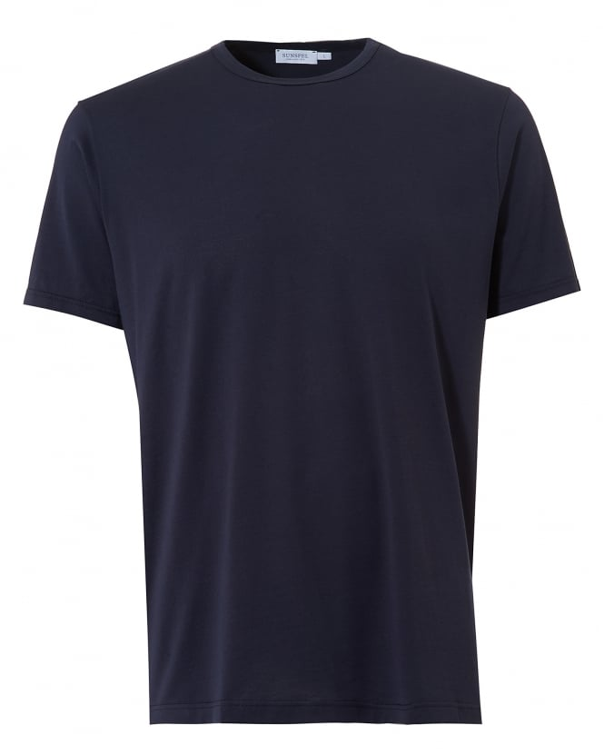 Sunspel Mens Plain T-Shirt, Crew Neck Cotton Navy Tee