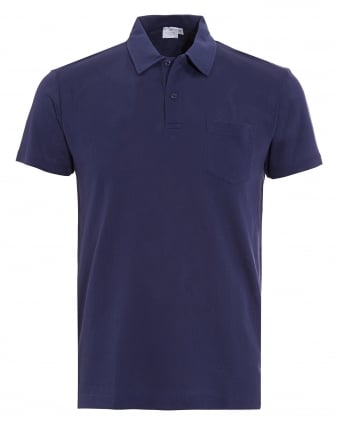Mens Polo Shirt, Navy Blue Riviera Pocket Polo