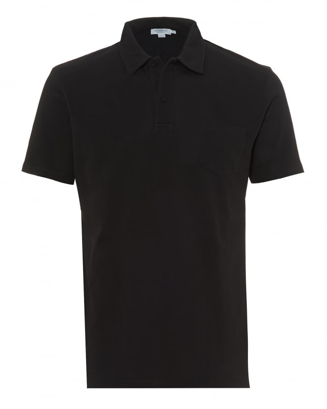Sunspel Mens Riviera Mesh Polo Shirt, Tailored Fit Black Polo