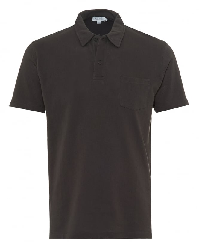 Sunspel Mens Riviera Mesh Polo Shirt, Tailored Fit Charcoal Grey Polo