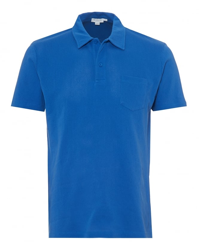 Sunspel Mens Riviera Mesh Polo Shirt, Tailored Fit Klein Blue Polo