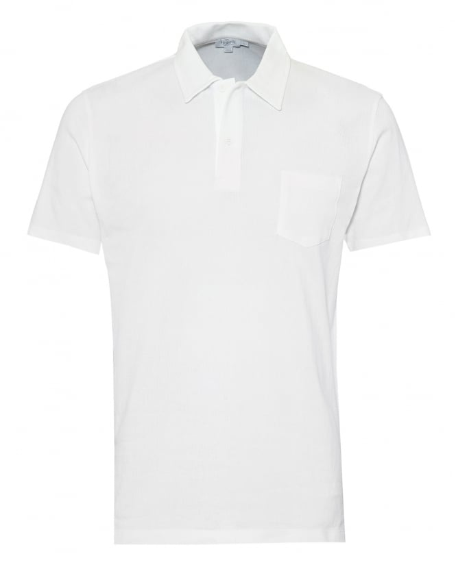 Sunspel Mens Riviera Mesh Polo Shirt, Tailored Fit White Polo
