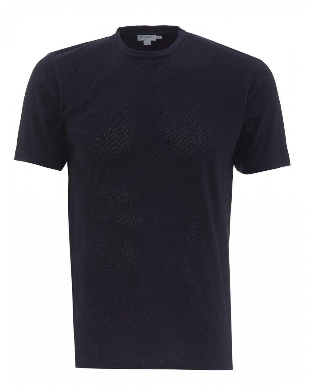 Sunspel Mens Riviera Mesh T-Shirt, Plain Navy Blue Tee