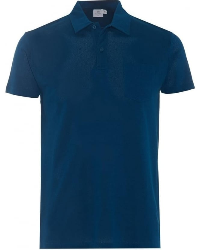 Sunspel Mens Riviera Polo Shirt, Blue Cotton Mesh Polo