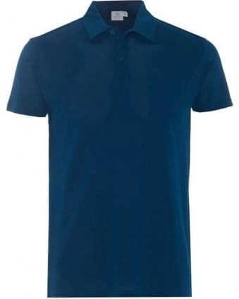 Mens Riviera Polo Shirt, Blue Cotton Mesh Polo
