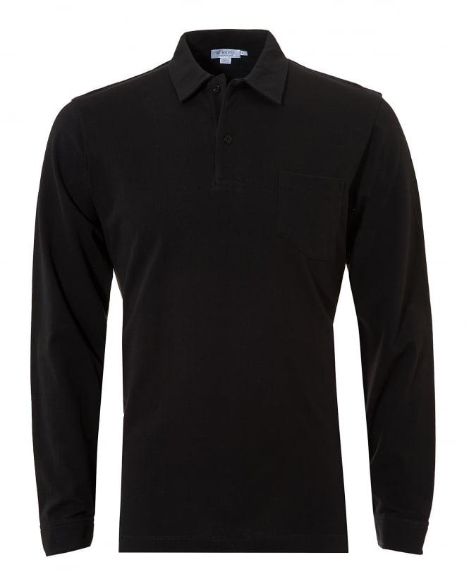Sunspel mens riviera polo shirt chest pocket black polo for Men s polo shirts with chest pocket