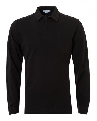 Mens Riviera Polo Shirt, Chest Pocket Black Polo