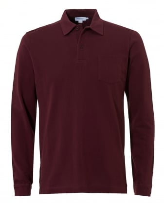 Mens Riviera Polo Shirt, Chest Pocket Claret Polo