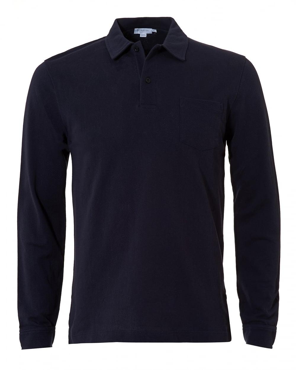 Sunspel mens riviera polo shirt chest pocket navy polo for Men s polo shirts with chest pocket