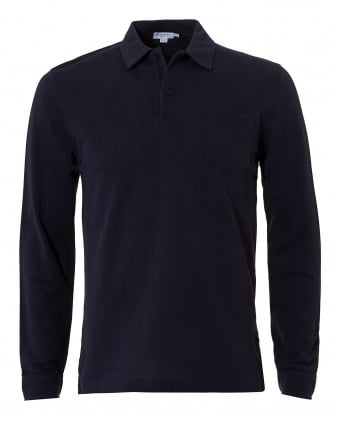 Mens Riviera Polo Shirt, Chest Pocket Navy Polo