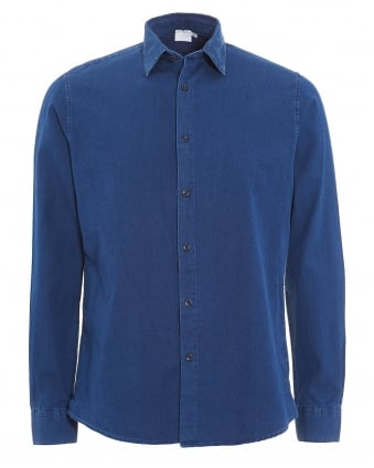 Mens Shirt, Indigo Blue Twill Cotton Oxford Shirt