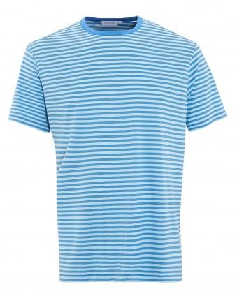 Mens T-Shirt, Blue English Stripe White Cotton Tee