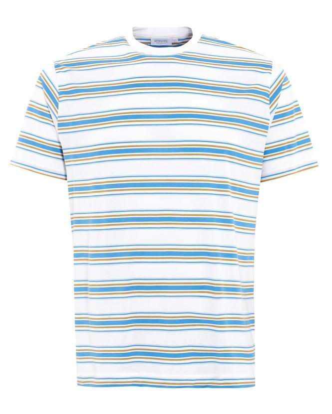 Sunspel mens t shirt blue wonky stripe white cotton tee for Blue white striped t shirt mens