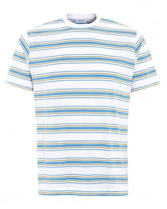 Mens T-Shirt, Blue Wonky Stripe White Cotton Tee