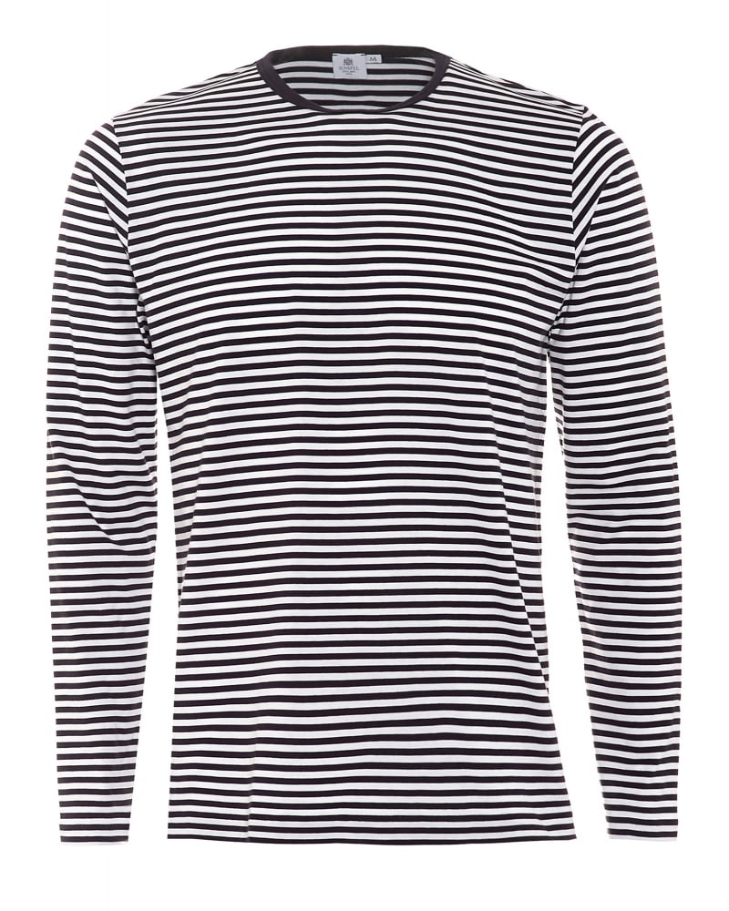 995d9aea1e2 Sunspel Mens T-Shirt Long Sleeve English Stripe White Navy Tee