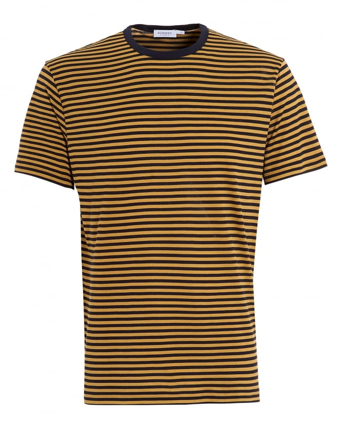 Sunspel Mens T-Shirt, Navy Blue English Stripe Olive Cotton Tee