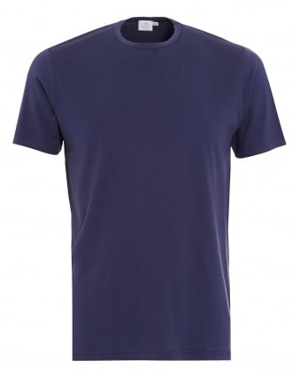 Mens T-Shirt, Navy Blue Regular Fit Plain Cotton Tee