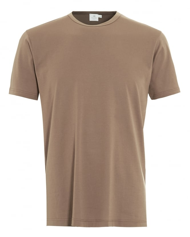 Sunspel Mens T-Shirt, Tan Brown Regular Fit Plain Cotton Tee