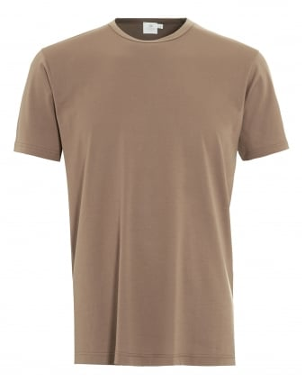 Mens T-Shirt, Tan Brown Regular Fit Plain Cotton Tee