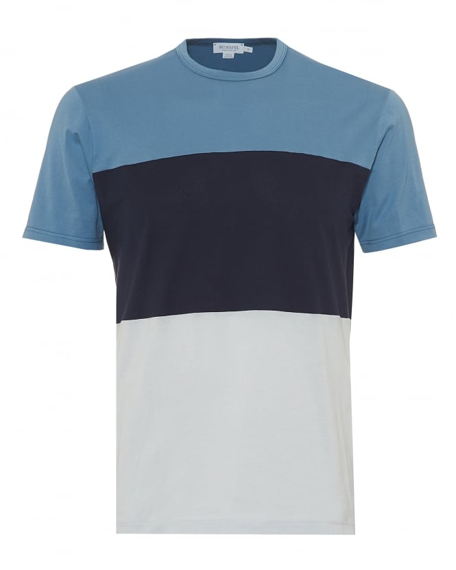 Sunspel Mens Triple Colour Block T-Shirt, Airforce Navy Ice Blue Tee