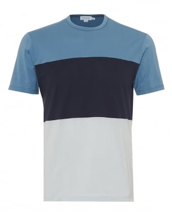 Mens Triple Colour Block T-Shirt, Airforce Navy Ice Blue Tee