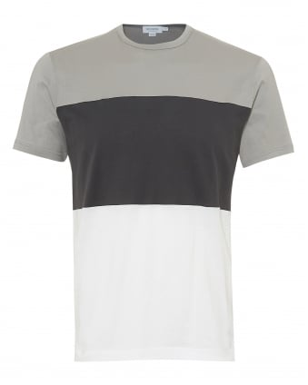 Mens Triple Colour Block T-Shirt, Light Grey Charcoal White Tee