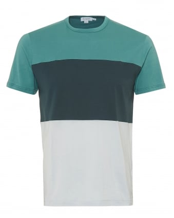 Mens Triple Colour Block T-Shirt, Sea Green Samphire Ice Tee