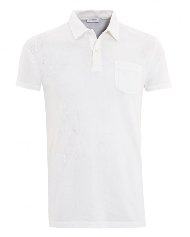 c2d173d89ce2 Sunspel Mens White Riviera Pocket Polo Shirt