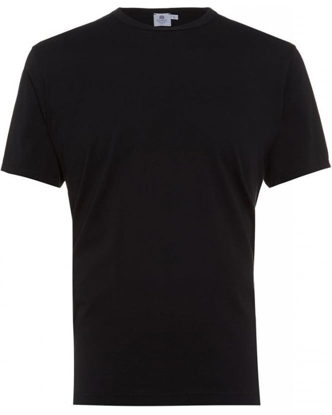 Sunspel Plain Black Classic Fit T-Shirt