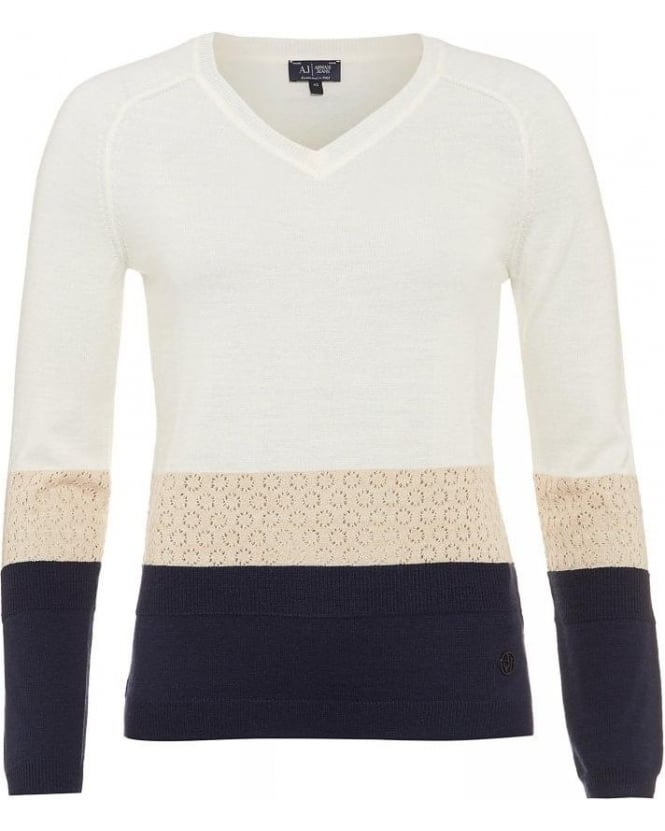 Armani Jeans Sweater, Colour Block Cream V-Neck Knitted Jumper