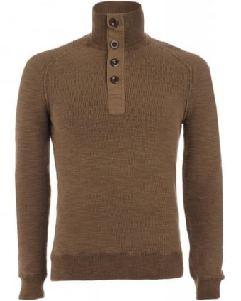 Sweatshirt, Tan Four Button 'Karlfritz' Knit
