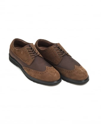 Mens Barry Brogue, Classic Brown Waterproof Leather Shoes