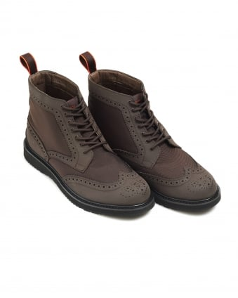 Mens Barry High Brogue, Brown Waterproof Leather Boots