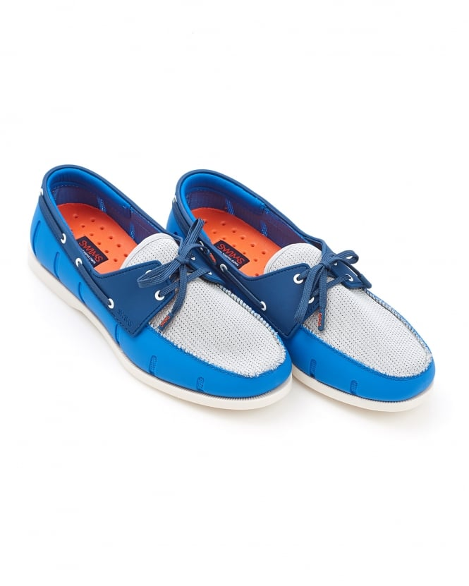 Swims Mens Boat Loafer Blitz Blue Light Grey Shoe