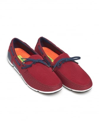 Mens Breeze Lace Loafer, Lace Trim Deep Red Shoes