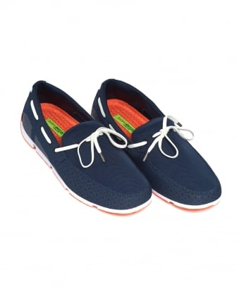Mens Breeze Lace Loafer, Lace Trim Navy Blue Shoes