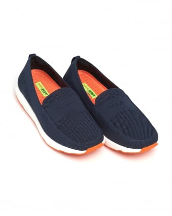 Mens Breeze Leap Knit Penny Loafers, Navy Blue Shoes