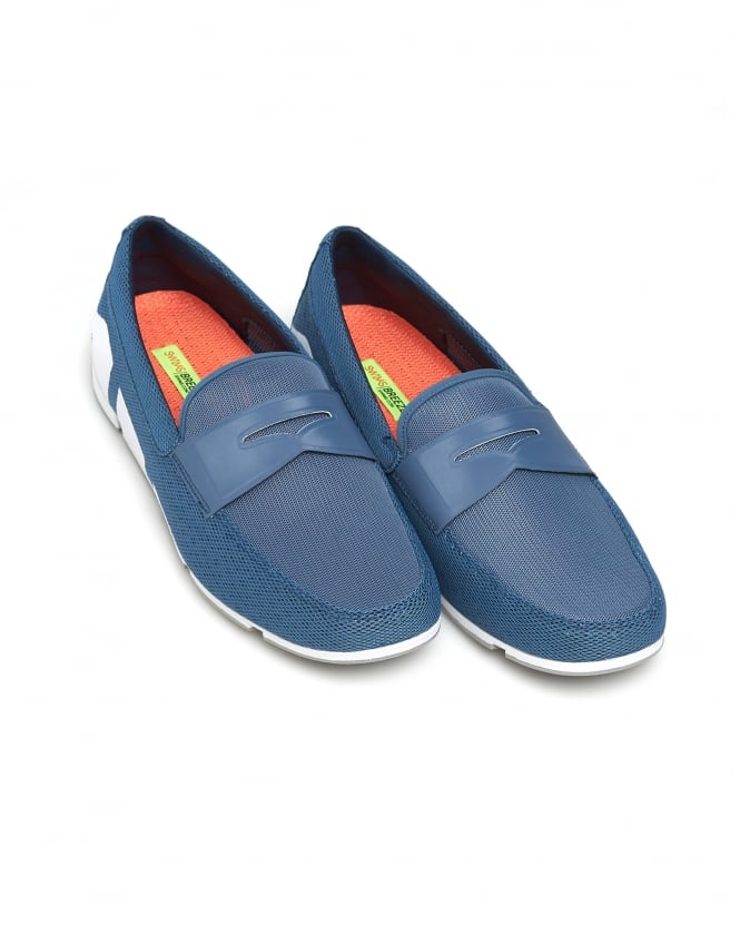 Swims Mens Breeze Penny Loafer, Slate Blue White Grey Shoes